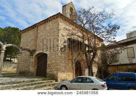 Front Facade Of Remedy Hermitage On Cifuentes. Architecture, Religion Travel. March 18, 2016.cifuent