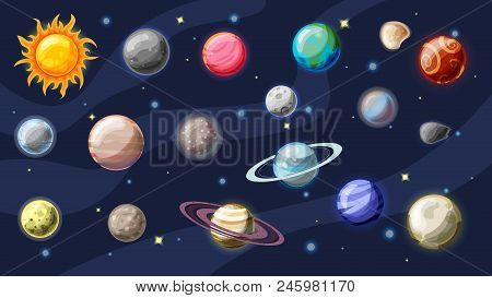 Solar System Vector Cartoon Collection. Planets, Moons Of Earth, Jupiter And Other Planet Of Solar S