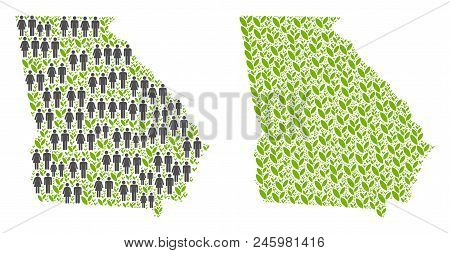 People Population And Eco American State Georgia Map. Vector Pattern Of American State Georgia Map O