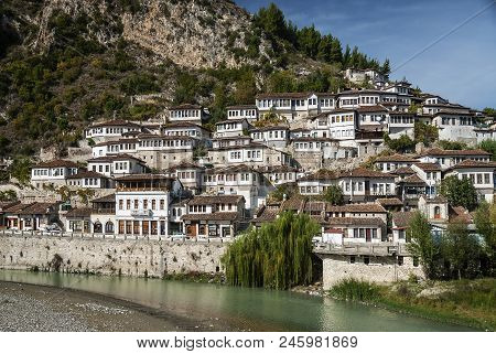 Ottoman Style Architecture View In Historic Berat Old Town Albania