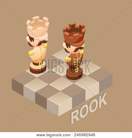 Isometric Cartoon Chess Pieces Rook, Black And White. Cute Chessman And Fragment Of Checkerboard Iso