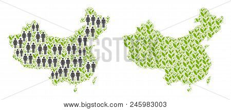 People Population And Eco China Map. Vector Pattern Of China Map Combined Of Scattered Men And Woman