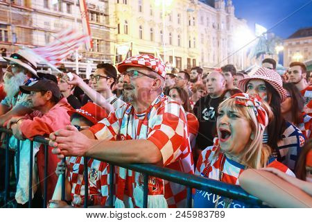 Zagreb, Croatia - June 16th, 2018 : Croatian Football Fans Watching On The Big Screen Football Game
