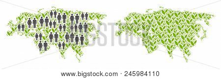 People population and grass Eurasia map. Vector concept of Eurasia map made of randomized gender and plantation items in variable sizes. Abstract social scheme of national group cartography. poster
