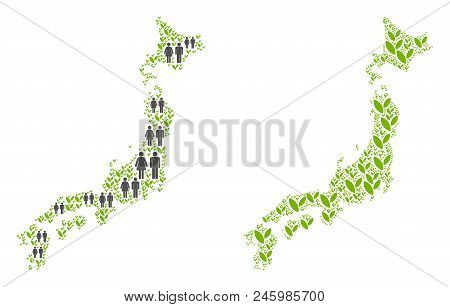 People Population And Environment Japan Map. Vector Collage Of Japan Map Done Of Scattered People Co