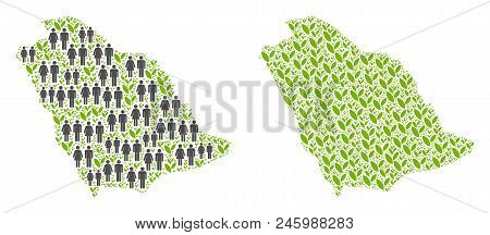 People Population And Ecology Saudi Arabia Map. Vector Abstraction Of Saudi Arabia Map Done Of Rando