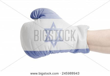 Flag Of Israel On Boxing Glove Isolated On A White Background