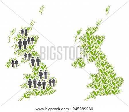 People Population And Flora Plants United Kingdom Map. Vector Mosaic Of United Kingdom Map Construct
