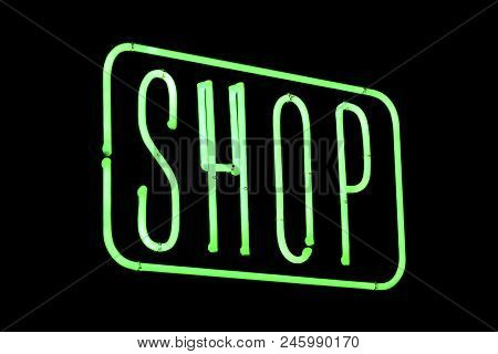 Shop Neon Sing Isolated Over A Black Background.