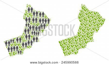 People Population And Eco Yemen Map. Vector Pattern Of Yemen Map Created Of Randomized Crowd And Agr
