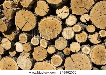 Stacked Logs Background. Stacked Logs Background. Wood Texture Or Wood Background. Wood For Interior