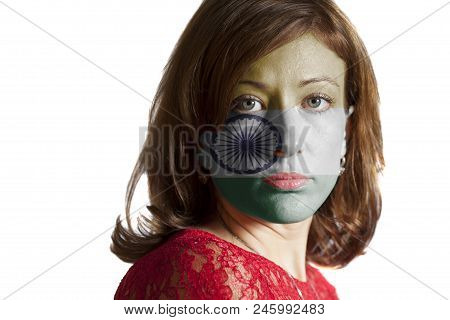 Woman Face With Painted Indian Flag Isolated On White Background