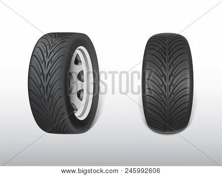 Vector 3d Realistic Black Tyre, Shining Steel And Rubber Wheel For Car, Automobile. Modern Rim, Trea