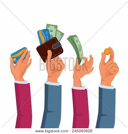 Hands Of Male And Female Holding Dollars And Coins. Vector Hand With Coin Dollar, Investment Cash In