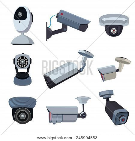 Security Cameras. Cctv Systems Video Control, Looking And Surveillance, Monitored Guard. Vector Illu