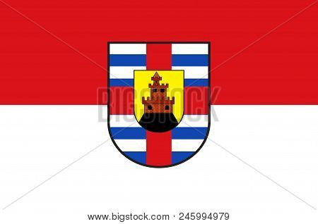 Flag Of Trier-saarburg Is A District In The West Of Rhineland-palatinate, Germany. Vector Illustrati