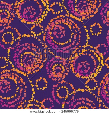 Vivid Color Dots  Seamless Pattern In Tribal Style. Vibrant Simple Swatch For Background, Wrapping P