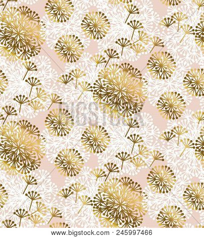 Rose Gold Concept Dandelion Flower Seamless Pattern For Background, Wrapping Paper, Fabric, Surface
