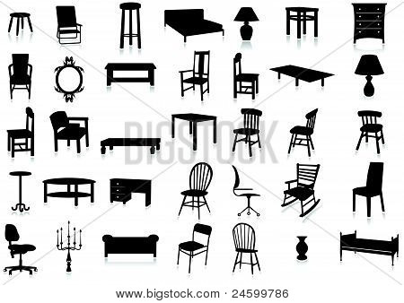 Furniture silhouette vector illustration set.