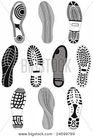 Vector illustration set of footprints.