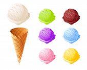 Ice cream. Set of summer sweetness. Milk, chocolate, vanilla, strawberry icecream. Cone cup Ice-cream. Sweet dessert. Frozen product. Isolated white background. EPS10 vector illustration. poster