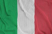 Italy flag printed on a polyester nylon sportswear mesh fabric with some folds poster