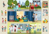Smoking horizontal brochures with people on demonstration against harmful habit smokers with prohibited substances health problems because of cigarettes vector illustration poster