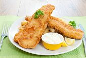 Delicious battered fish and chips on a plate poster