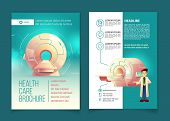 Vector medical examination brochure, health care concept with cartoon MRI scanner for tomography and doctor. Booklet, advertising flyer with diagnostic in hospitals, clinics. Modern technologies. poster