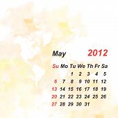 the calendar 2012 watercolor background may 2012 poster