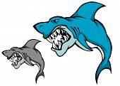 Danger shark with sharp tooth for mascot design in cartoon style poster