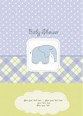 baby boy shower card with blue elephant poster