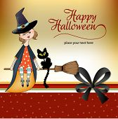 Cute Halloween witch in vector format with cat poster