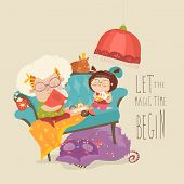 Grandmother reading a fairytales to her granddaughter. Vector illustration poster