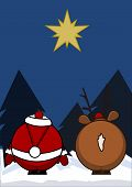 Santa Claus and reindeer look at a star poster