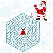 Polyhedron maze riddle game, find way your path. Help the Santa Claus. Labyrinth rebus for kids vector illustration poster