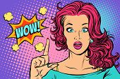 wow woman points up. Pop art retro vector illustration vintage kitsch drawing poster