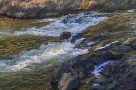 Rapids On The Rocky Mountain Fork River, Southeast Oklahoma