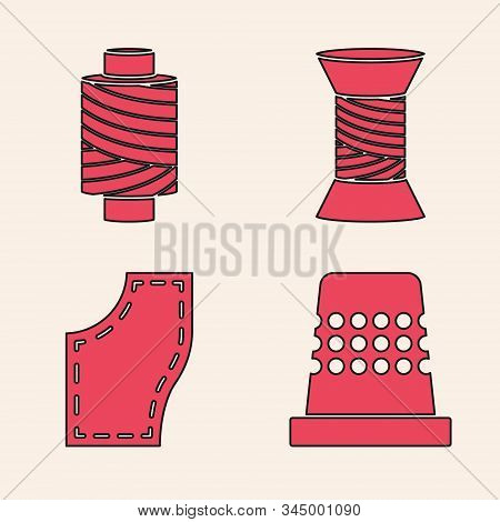 Set Thimble For Sewing, Sewing Thread On Spool, Sewing Thread On Spool And Sewing Pattern Icon. Vect
