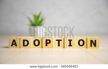 Word Adoption Written On Wooden Blocks Ob Blue Background. Famale Concept.
