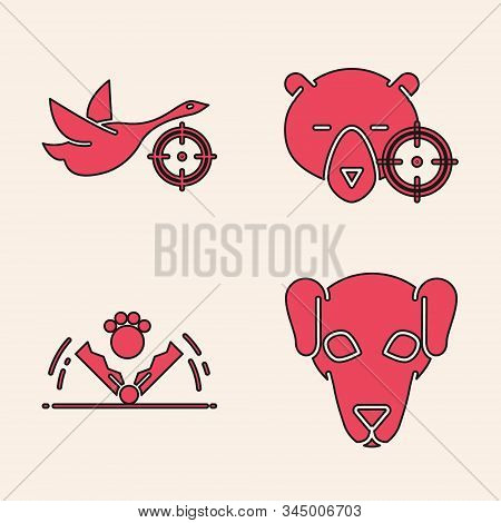 Set Hunting Dog, Hunt On Duck With Crosshairs, Hunt On Bear With Crosshairs And Trap Hunting Icon. V