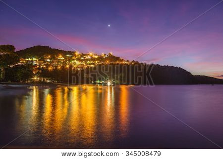 Colorful Dusk Sky Over Anse A L'ane Beach And Calm Bay With Peaceful Caribbean Sea, Martinique Islan