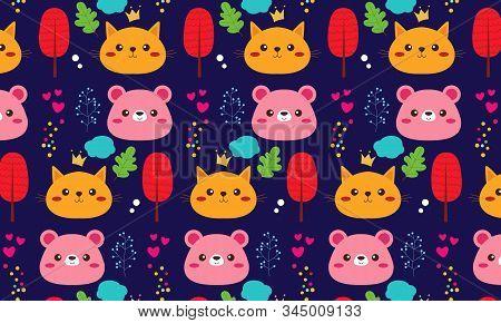 Animal Pattern With Farm Animal Logo Illustration