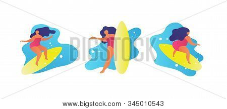 Surfing Set. Flat Woman Surfing On Big Waves. Girl Say Hello. Cartoon Trendy People Friends Summer B