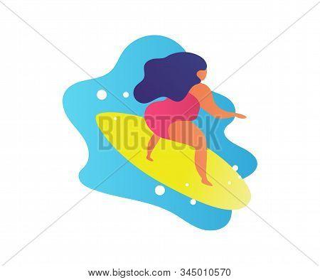 Flat Friendly Woman Surfing On Big Waves. Cartoon Trendy People Friends Summer Beach Lifestyle. Hawa