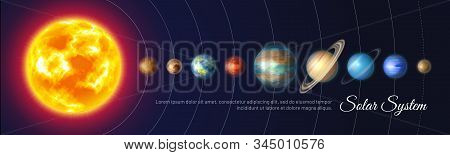 Colorful Solar System With Nine Planets And Satellites. Astronomy Banner With Planet Stand In Row. G