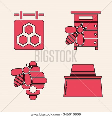 Set Beekeeper With Protect Hat, Hanging Sign With Honeycomb, Hive For Bees And Hive For Bees Icon. V