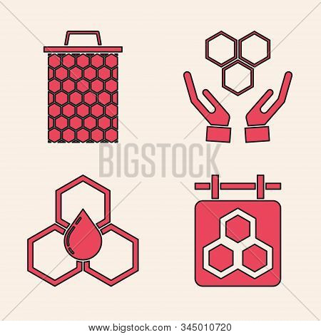 Set Hanging Sign With Honeycomb, Honeycomb, Honeycomb And Hands And Honeycomb Icon. Vector
