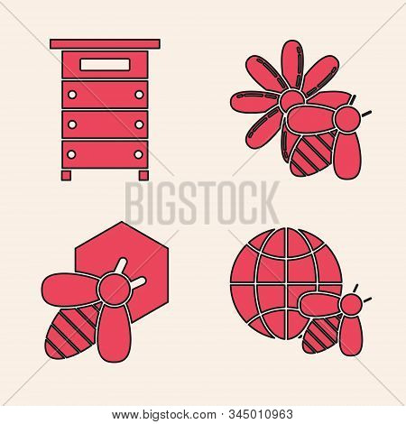 Set Honeycomb Map Of The World And Bee, Hive For Bees, Bee And Flower And Bee And Honeycomb Icon. Ve