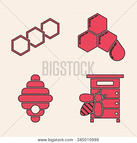 Set Hive For Bees, Honeycomb, Honeycomb And Hive For Bees Icon. Vector